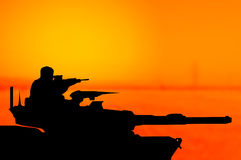 Army tank silhouette concept Stock Images