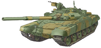 The army tank T-90. Camouflaged russian the army tank T-90 Royalty Free Stock Photo