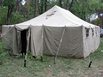 Army tent in wood Stock Photography
