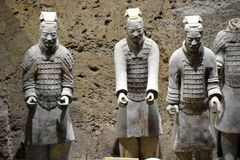 Army of Terracotta Warriors and Horses, Xian, China. Detail of the Army of Terracotta Warriors and Horses, Xian, Shaanxi, China, Asia stock photo
