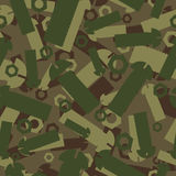 Army texture of nuts and bolts. Soldier green camouflage ornamen Royalty Free Stock Image