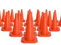 Army of traffic cones. (all orange) over a white background Royalty Free Stock Photography