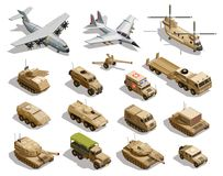Military Transport Isometric Icons Set. Army transport isometric icons collection with cargo aircraft helicopter fleet fighter tanks military vehicles isolated Stock Images