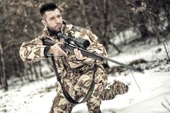 Army trooper with gun and rifle in operation on battlefield. Military army trooper with gun and rifle in operation on battlefield Royalty Free Stock Photography