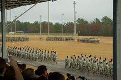 Army Troops Marching in Parade. Parade graduation ceremony at Fort Jackson, SC stock photography