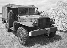 Army truck. Vintage usa army truck black and white royalty free stock photos