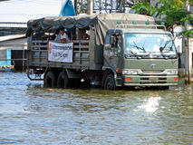 Army Truck in the Floodwater Royalty Free Stock Photography