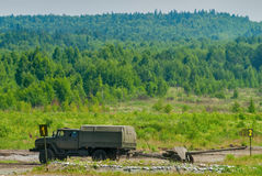 Army truck transports a gun Royalty Free Stock Photo