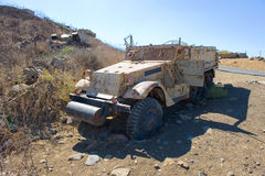 Army truck of yom kippur war. Army truck left of the yom kippur war on 'tel e-saki' on the Golan Heights in Israel Stock Images