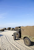 Army trucks at beach Royalty Free Stock Photography