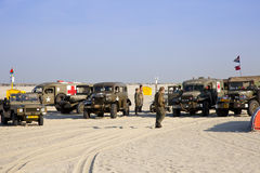 Army trucks at beach Royalty Free Stock Image