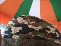 Army under flag stock photo