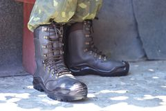 Army uniform military boots and pants stock photography