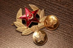 Army USSR. Buttons and cockade stock photography