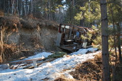 Army vehicle in forest, Siberia. Photo near russian army camp Stock Photos
