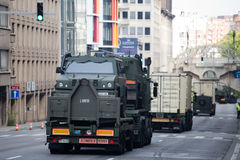 Army vehicles during the military parade on the Belgium National Day Stock Photo
