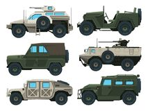 Army vehicles set. Colored vector illustrations. Military car armored with gun Royalty Free Stock Image