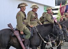 Army veterans in ANZAC day parade in Australia. 25 April 2018. Cavalry or horsemen or lancers at ANZAC Day parade at Coffs Harbour in Australia. Veterans mounted stock images