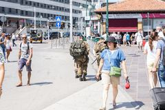 Army walking in the city of Venice Italy, 14.8.2017 stock image