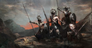 Army in war. General leading his army in war royalty free illustration