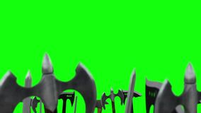 Army of Warriors Waving Up their Weapons with Axes and Swords on a Green Screen Background stock video footage