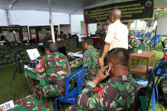 Army. The army was doing exercises to mitigate disasters in the city of Solo, Central Java, Indonesia Stock Images