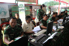 Army. The army was doing exercises to mitigate disasters in the city of Solo, Central Java, Indonesia Stock Image