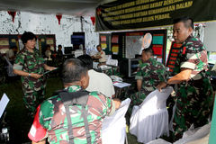 Army. The army was doing exercises to mitigate disasters in the city of Solo, Central Java, Indonesia Stock Photos