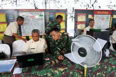 Army. The army was doing exercises to mitigate disasters in the city of Solo, Central Java, Indonesia Stock Photo