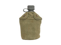 Army water canteen with green cover. Isolated on a white background Stock Photos