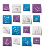Army, weapon and arms Icons. Vector icon set Royalty Free Stock Photography