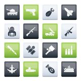 Army, weapon and arms Icons over color background. Vector icon set royalty free illustration