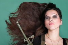 Army Woman With Gun - Beautiful woman with rifle plastic Royalty Free Stock Images