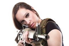Army Woman With Gun - Beautiful woman with rifle plastic Royalty Free Stock Image