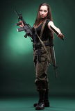 Army Woman With Gun-woman with rifle plastic Royalty Free Stock Photo