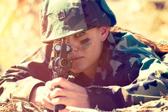 Army Woman Holding Gun Royalty Free Stock Photo