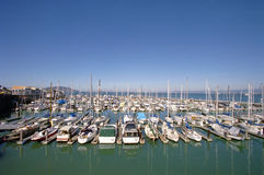 Army of yachts. Yachts against blue sky in San Francisco royalty free stock image
