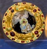Arnés de los detalles - arnés de Phalar 1 ANUNCIO del siglo Oro, ágata, vit Fotografía de archivo