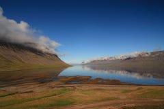 Arnars Fjord, Arnarfjordur Stockfotografie