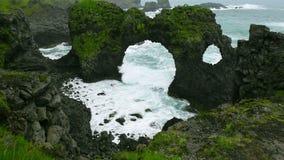 Arnarstapi曲拱在冰岛 股票视频