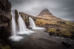 Majestic Kirkjufell and waterfall in west Iceland Stock Photography