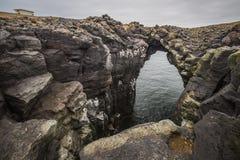 Arnarstapikust en vissend dorps West-IJsland Stock Afbeeldingen