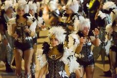 Arnaval σε Sitges στο χρόνο βραδιού Καταλωνία, Ισπανία Στοκ Εικόνες
