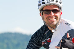 Arndt Peachthold in the Coeur d' Alene Ironman cycling event Royalty Free Stock Photography