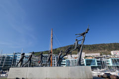 Arne Maeland`s `Livet, leiken og draumane` sculpture in Solheimsviken, Bergen, Norway. Bergen, Norway - May 9, 2016: Arne Maeland`s `Livet, leiken og draumane` Royalty Free Stock Photos