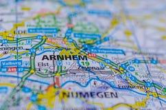 Arnhem en mapa Imágenes de archivo libres de regalías
