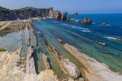 Arnia coast and Arnia beach.Santander. Spain. stock images