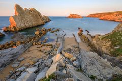 Arnia-Strand, Kantabrien, Spanien lizenzfreies stockfoto