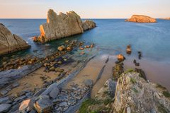 Arnia-Strand, Kantabrien, Spanien stockfoto