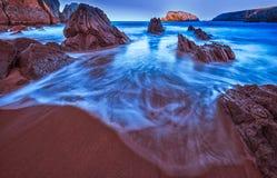 Arnia-Strand, magischer Strand stockbild
